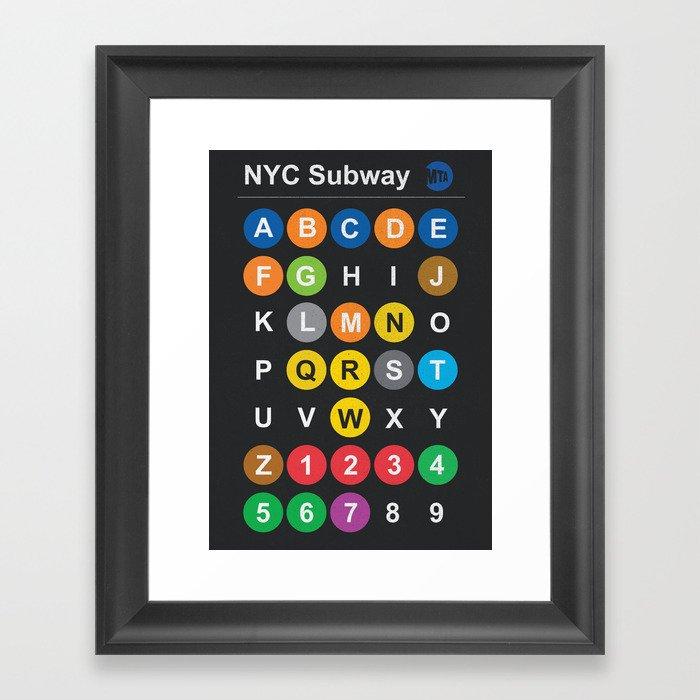 Nyc Subway Map Dark.New York City Subway Alphabet Map Nyc Lettering Illustration Dark Version Usa Typography Framed Art Print By Stefanoreves