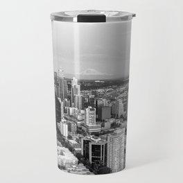 Seattle Skyline Harbor at sunset - black and white Travel Mug