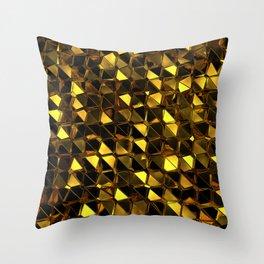 Golden Polygons 02 Throw Pillow