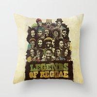 reggae Throw Pillows featuring Legends of Reggae Poster by Panda