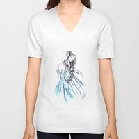 frozen elsa V-neck T-shirts featuring Frozen Elsa by Jeanette Perlie