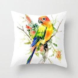 Sun Conure Parakeet, tropical colors parrot art design Throw Pillow