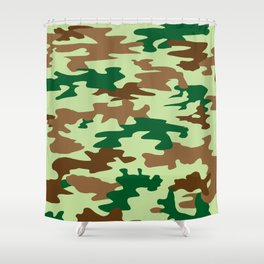 Camouflage Print Pattern - Greens & Browns Shower Curtain