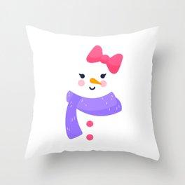 Snowgirl Snowman Winter Snow Merry Christmas Gift Throw Pillow