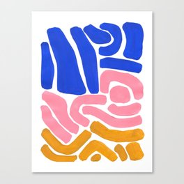 Colorful Minimalist Mid Century Modern Shapes Pink Ultramarine Blue Yellow Ochre Tribal Maze Pattern Canvas Print