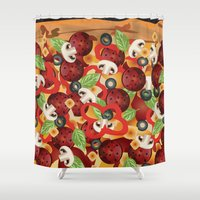 pizza Shower Curtains featuring Pizza  by Anderssen Creative Imaging