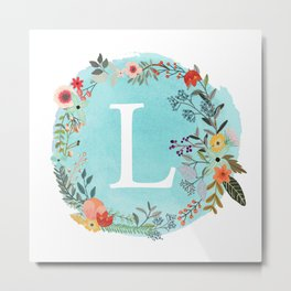 Personalized Monogram Initial Letter L Blue Watercolor Flower Wreath Artwork Metal Print