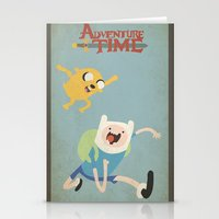 finn and jake Stationery Cards featuring Finn and Jake by jeice27