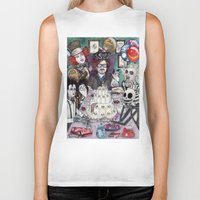 tim burton Biker Tanks featuring TIM BURTON TEA PARTY by ●•VINCE•●