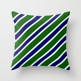 TEAM COLORS 1.....dk. green, navy  and white Throw Pillow