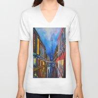 eiffel V-neck T-shirts featuring Eiffel Tower Street by ArtSchool