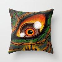 godzilla Throw Pillows featuring Godzilla by Blake Cantrell