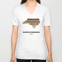 north carolina V-neck T-shirts featuring North Carolina state map modern by bri.buckley
