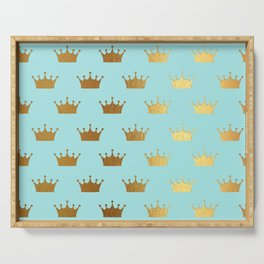 Gold Glitter effect crowns on teal - Royal Pattern for Princesses Serving Tray