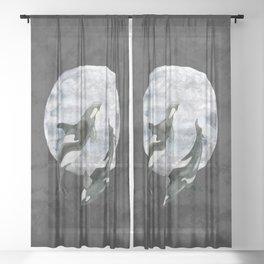 orcas' moon dance Sheer Curtain