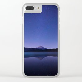 Purple Lilac Lullaby Japanese Mountains At Night Star Sky Relaxing Cozy Landscape Clear iPhone Case