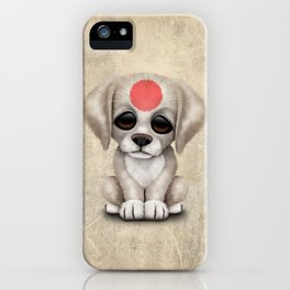 Cute Puppy Dog with flag of Japan iPhone Case