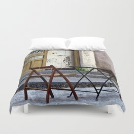 Coffee time in Catania on the Isle of Sicily Duvet Cover