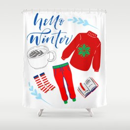 Hello Winter II Shower Curtain