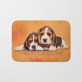 Cute Beagle puppies Bath Mat