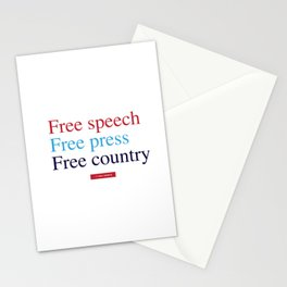 Free Speech, Free Press, Free Country Stationery Cards