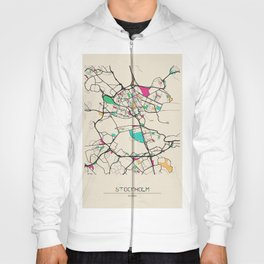 Colorful City Maps: Stockholm, Sweden Hoody