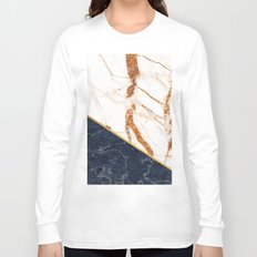 Classy Elegant White Blue Gold Marble Long Sleeve T-shirt