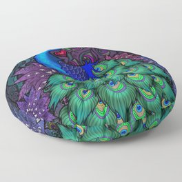 Peacock Watcher Floor Pillow