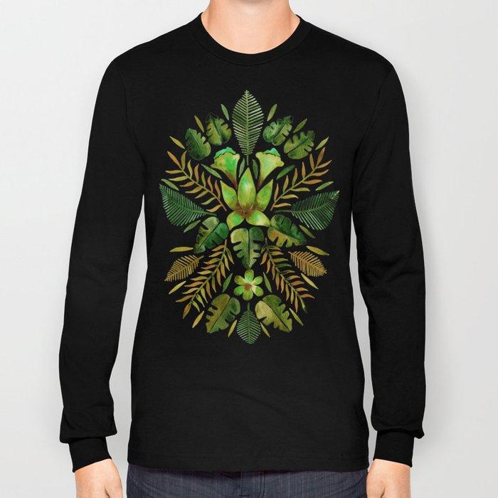 Tropical Symmetry – Olive Green Long Sleeve T-shirt