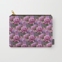 Peach & Purple Roses Carry-All Pouch