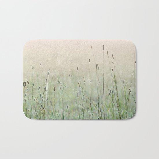 Idyllic Grass Field in the Morning Sun Bath Mat