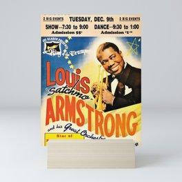 Louis Armstrong Parker Auditorium, Minot, North Dakota Satchmo Jazz Vintage Advertising Concert Poster Mini Art Print