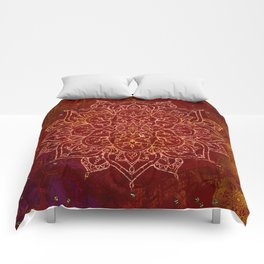 Rust Red Mandala Comforters