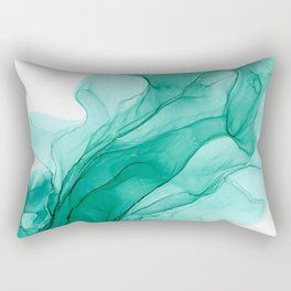 Turquoise Abstract 31421 Alcohol Ink Painting by Herzart fluid art Rectangular Pillow