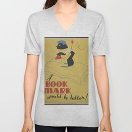 Vintage American WPA Poster - A book mark would be better! (1940) Unisex V-Neck