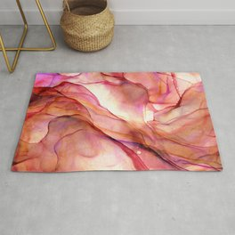 Fluid Coral Abstract Ink Painting Rug