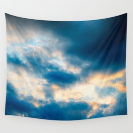 Golden Crocodile Clouds Wall Tapestry