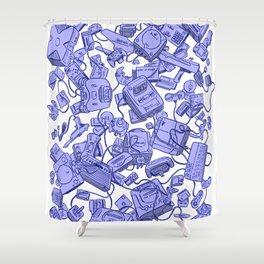 Retro Gamer - Blue Shower Curtain