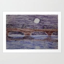 Bridge at night Art Print