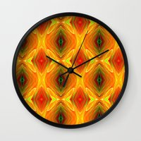 orange pattern Wall Clocks featuring Orange Pattern by Art-Motiva