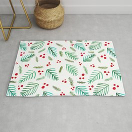 Christmas tree branches and berries - green and red Rug