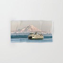 Seattle Bainbridge Island Ferry with Mount Rainier Hand & Bath Towel