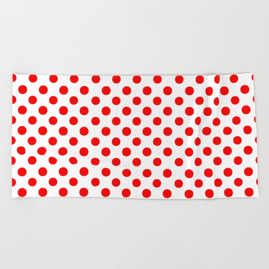 Polka Dots (Red/White) Beach Towel