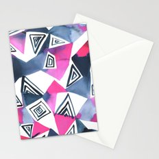 Geo Triangle Pink Navy Stationery Cards
