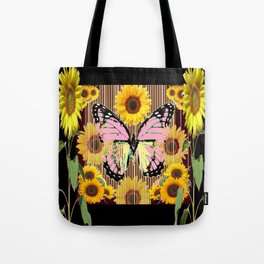 BLACK ABSTRACT PINK BUTTERFLY SUNFLOWER FLORAL Tote Bag