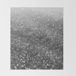 Silver Gray Black Glitter #2 (Faux Glitter - Photography) #shiny #decor #art #society6 Throw Blanket