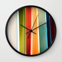 Colorful Surfboards in a Row Coastal - Beach - Tropical Photograph Wall Clock