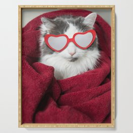Cat in Heart Glasses Bundled in Blanket Serving Tray