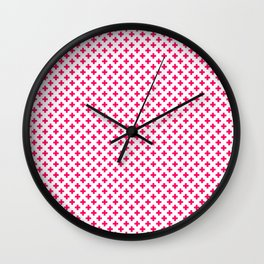 Small Hot Neon Pink Crosses on White Wall Clock