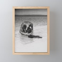 Nothing but tan lines, ocean, & beach female form black and white photography Framed Mini Art Print